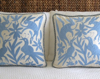 2 Hand Made Embroidery Pillow Covers Mexican Folklore Birds in Blue Color 20 x 20
