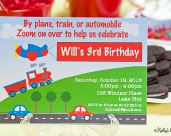 Planes, Trains, & Automobiles Birthday Party Invitation.... Custom, Printable, Digital