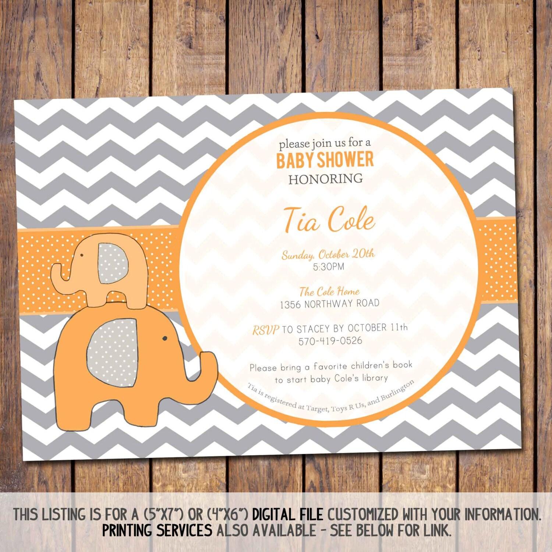 elephant baby shower invitation chevron baby shower invitation
