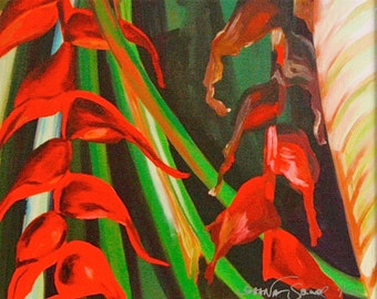 """Heliconia II 8""""x10"""" fine art giclee stretched and wrapped canvas with 3/4"""" sides printed. Ready to hang. Just like the painting."""
