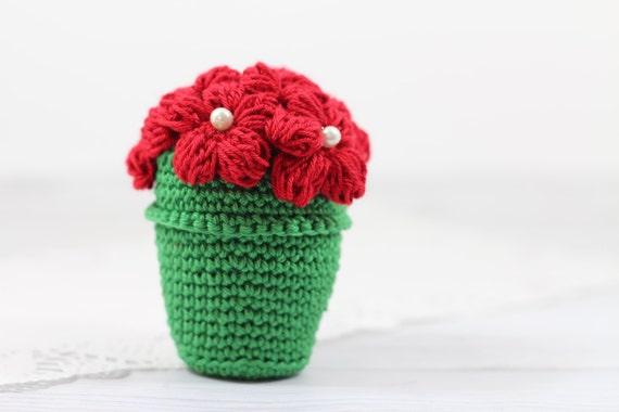 Amigurumi Flower Crochet Pattern : Crocheted Flower Pot Tutorial Amigurumi Flower Pot Pattern