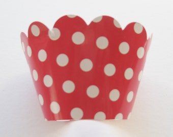 12 Reversable Red Polka Dot CUPCAKE WRAPPERS