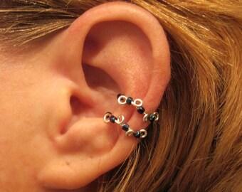 "Non Pierced Ear Cuff  ""Beaded Conch Vine"" Cartilage Conch Cuff Color Choices"