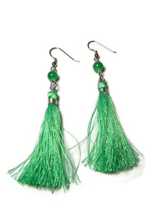 green silk tassel earrings