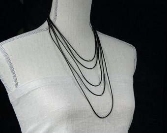 Black or Dark Brown Leather Necklace 18, 20, 24, 27, 30 inches or Custom Size Handmade Jewelry for Men or Women