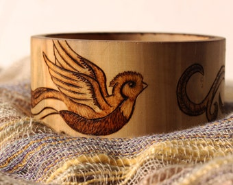Quetzal Bird Flying Pyrography Wood Burned Bangle Bracelet