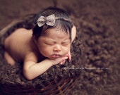 the Darling : Newborn Headband - Earth - Newborn Photo Prop - polka dots, halo, bow headband, head band, photography prop
