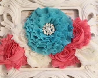 Maternity Sash- Pink, Ivory, Aqua Sash- Photography Prop- Newborn Photo Prop- Flower Girl Sash- Bridal Sash- Belly Band- Gender Reveal