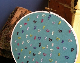 Girl sign and heart embroidery (wall decor in embroidery hoop)