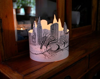 LARGE New York SILHOUETTE Paper lantern Originally Hand Drawn - just add candle