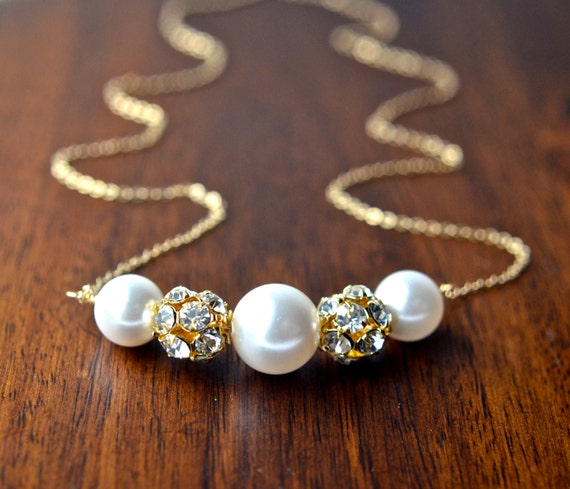 Bridal Pearl Necklace - Gold Filled Wedding Jewelry | White Swarovski Crystal Pearls | Clear Rhinestone Bead | Crystal Jewelry | Night Out
