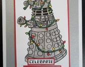Dalek Christmas Card Dr Who Silver