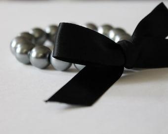 Charcoal Gray Pearl and Black Ribbon Bracelet
