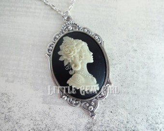 Spanish Day of the Dead Girl Cameo Necklace - Skeleton Lady Cameo Victorian Gothic Skull Cameo - Dia De Los Muertos Lolita Jewelry