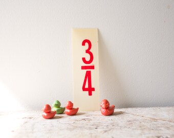 Red Marquee Three Fourth Sign - Red Plastic Number Three Quarters Fraction Sign