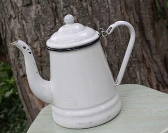 Enamel Kettle White Vintage Retro Antique Tea Enamelware
