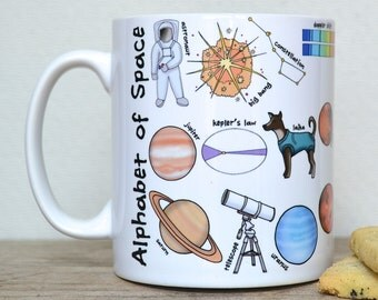 Space Alphabet Mug - Space Mug - gift for geek - science gift - Alphabet of Science Mug - gift for dad