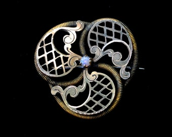 Victorian 10k Love Knot Brooch with Opal