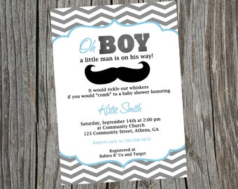 Mustache Baby Shower Invitation.  Little Man Party Invitation. Digital Invite.  Mustache Invite. Baby Shower Invite. Little Man Invite.