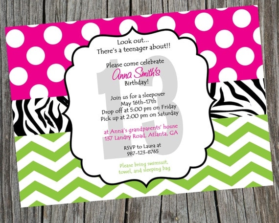 Printable Birthday Party Invitation Teen Party Invite Sleepover – Sleepover Birthday Party Invitations