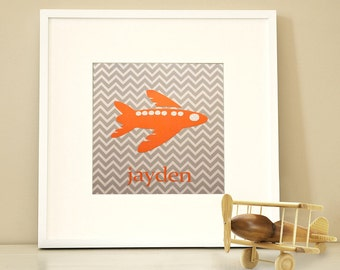 Modern Children's Paper Wall Art - Airplane up in the Air or Personalized - 12 x 12 - Chevron Grey and Orange or Custom Color