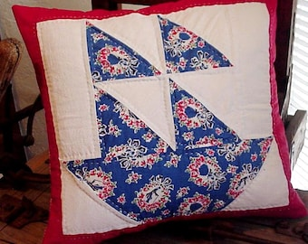 Patchwork Sailboat Pillow Cover, Upcycled Vintage Sail Boat Quilt Block, Cottage Nautical Beach Home Decor, Red White Blue itsyourcountry