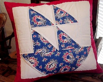 Patchwork Sailboat Pillow Cover Vintage Quilt Block Cottage Chic Nautical Beach Upcycled Home Decor Pillow itsyourcountry