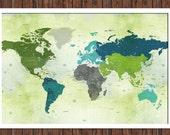 World map, 20X30 Inches, Dreamy World, World Travel, Adventure Travel, Vacation Art, Travel Map, Push Pin Travel