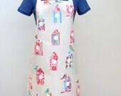 Adult PVC Apron Pretty Floral Birdhouse Print, Oilcloth Apron, Waterproof Apron, Cottage Chic Apron