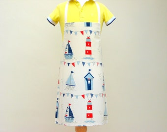 Child Pvc Apron - Boats, Beach Huts and Lighthouses, Toddler Apron, Oilcloth Apron, Waterproof Apron