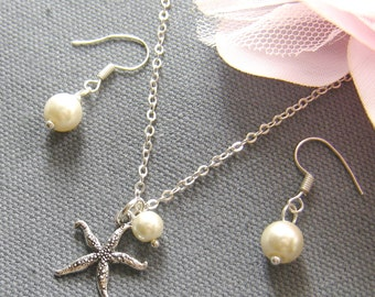 Starfish pearl necklace, bridesmaid necklace, bridemaid gift wedding jewelry set summer wedding white ivory pearl - W047