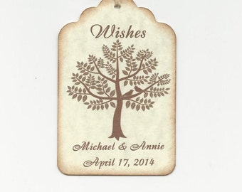 50 CUSTOM Personalized Wedding Wish Tags - Wedding Favors-Elegant Wedding Tags