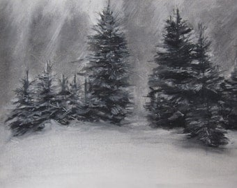 Winter Trees in Snow - original charcoal drawing **SALE**