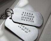 Dog Tag Personalized Necklace for Him Mens Stainless Steel Custom Stamped Tags Gift for Dad