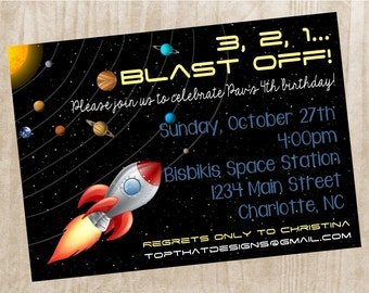 Outer Space Birthday Invitation- Digital