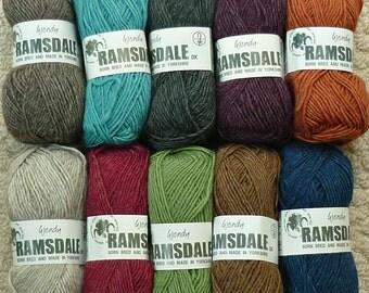 Knitting Wool/Yarn Wendy Ramsdale 100% British Wool Double Knitting (Light Worsted) Knitting Yarn/Wool