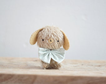 Fred little puppy plush - made to order- miniature bear, blythe bear, mohair bear, teddy, bunny bear, kawaii, artist bear