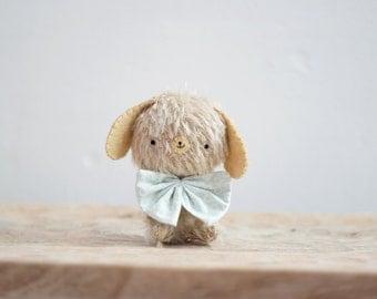 Fred little puppy plush - made to order- miniature bear, blythe bear, mohair bear, teddy, bunny bear, kawaii, artist bear