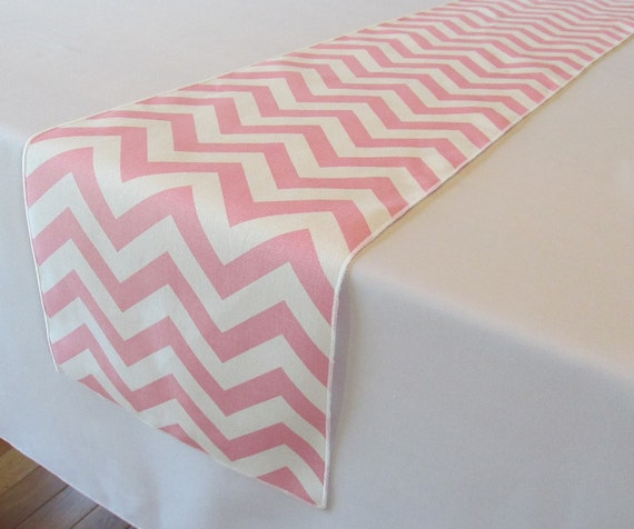 Light Pink And White Chevron Table Runner   SELECT A SIZE