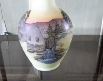 Vintage FENTON GLASS Water Mill Creek Stream Vase Double Crimped Hand Decorated  Glass Artist Signed J Brown