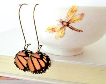 Butterfly Wings Vintage Earrings. Orange Black Butterfly Dangle Earrings. Monarch butterfly wings photography. Woodland Photography earrings