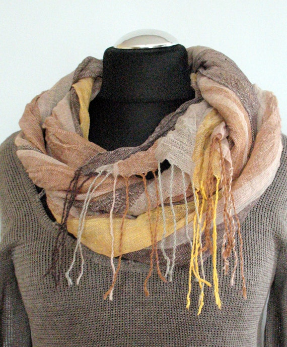 Natural Linen Scarf Striped Unisex Gray Brown Beige Yellow Shawl