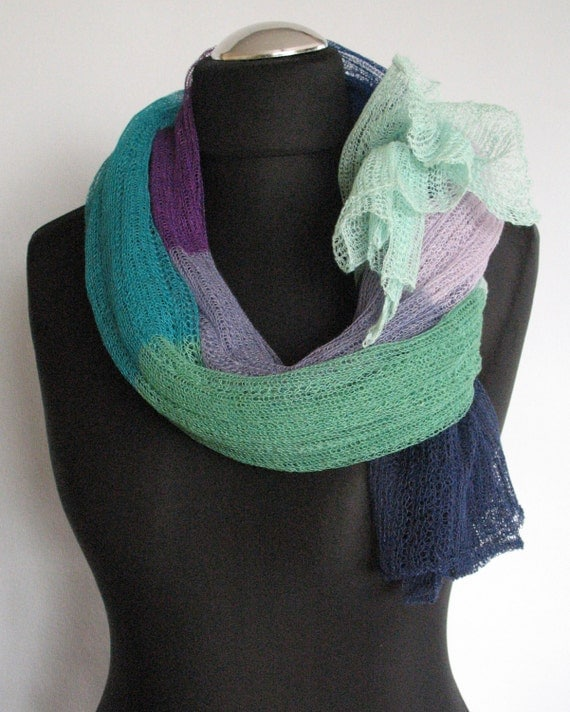 Linen Scarf Shawl Wrap Stole Blue Azure Green Turquoise Multicolored, Light, Transparent