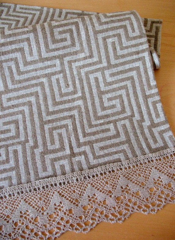 """Linen Table Burlap Runner Tablecloth Easter gift Natural White Gray Striped Linen Lace 59"""" x 17"""""""