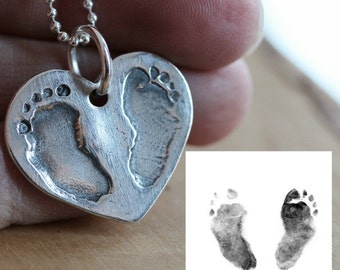 Custom Baby Footprint or Hand Print Necklace - Unisex/Your Child's Actual Prints In Fine Silver - Chase Necklace