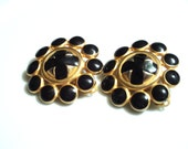 CLEARANCE SALE Was 8.00 Now 4.00 Vintage Signed Anne Klein Black Enameled Cross and Matte Gold Tone Clip Earrings