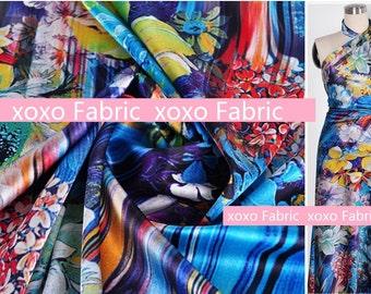 Stretchy Silk Satin Fabric ,blue garden fashion design silk supplies