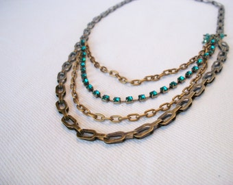 Layered Necklace, Multi-Chain Necklace, Bronze Chain Necklace, Green Necklace