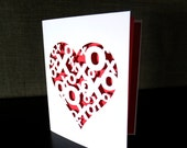 XOXO Love Heart Hugs and Kisses Greeting Card, X's and O's Valentine's Day Anniversary Wedding Card
