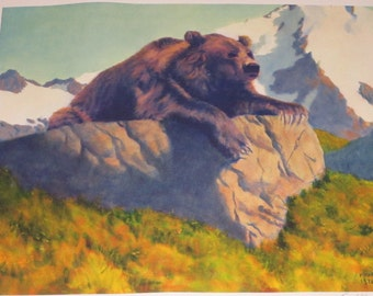 "Mens Gift / Fred Machetanz ""King of the Mountain"" Limited Edition Alaskan Artist Lithograph / Bear"